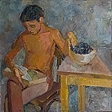 Boy with plums